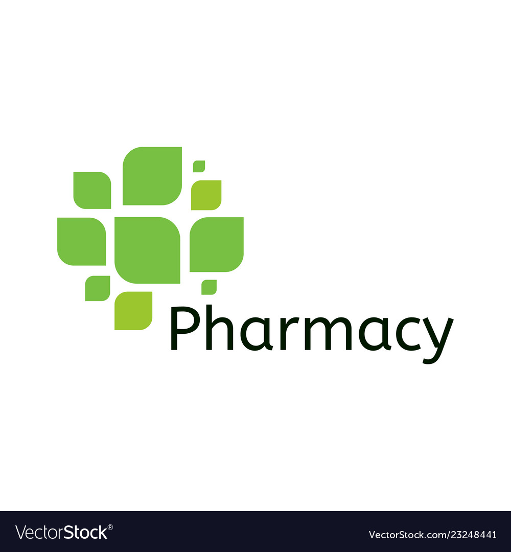 Cross leaf icon pharmacy logo template medical