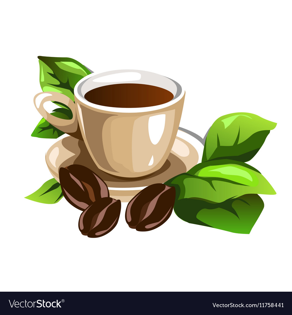 Cup of coffee decorated beans and green leaves
