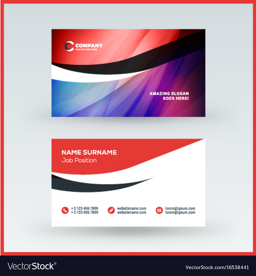 Double sided horizontal business card template vector image reheart Choice Image