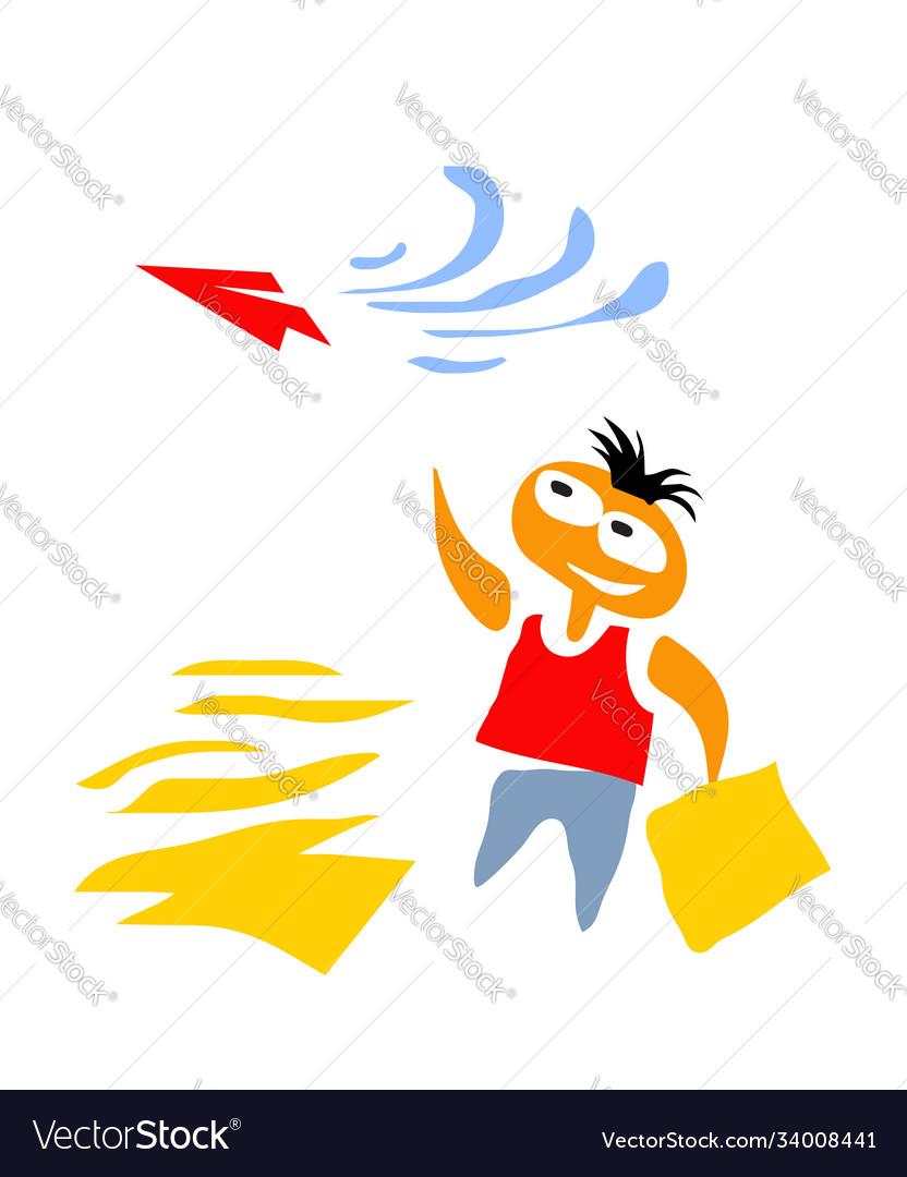 Dream boy launches paper plane