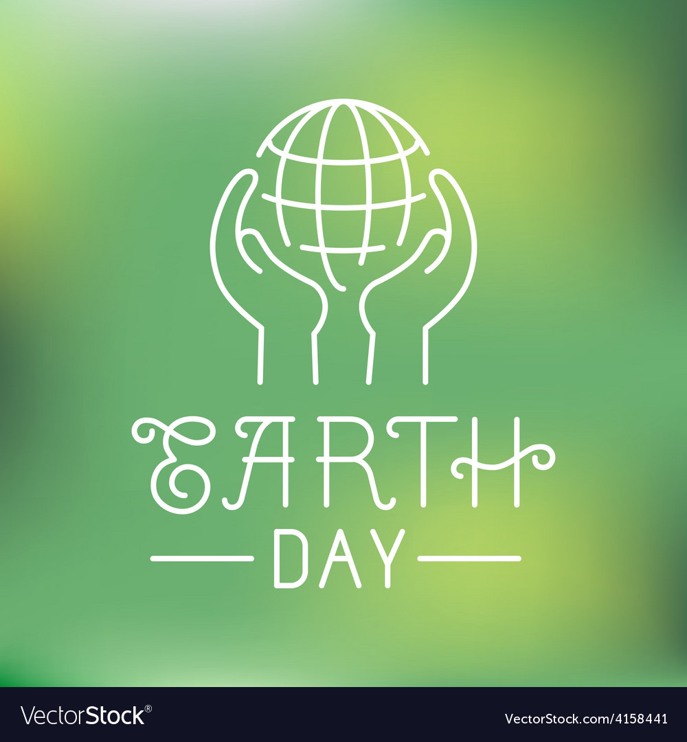 Earth day logo in linear style