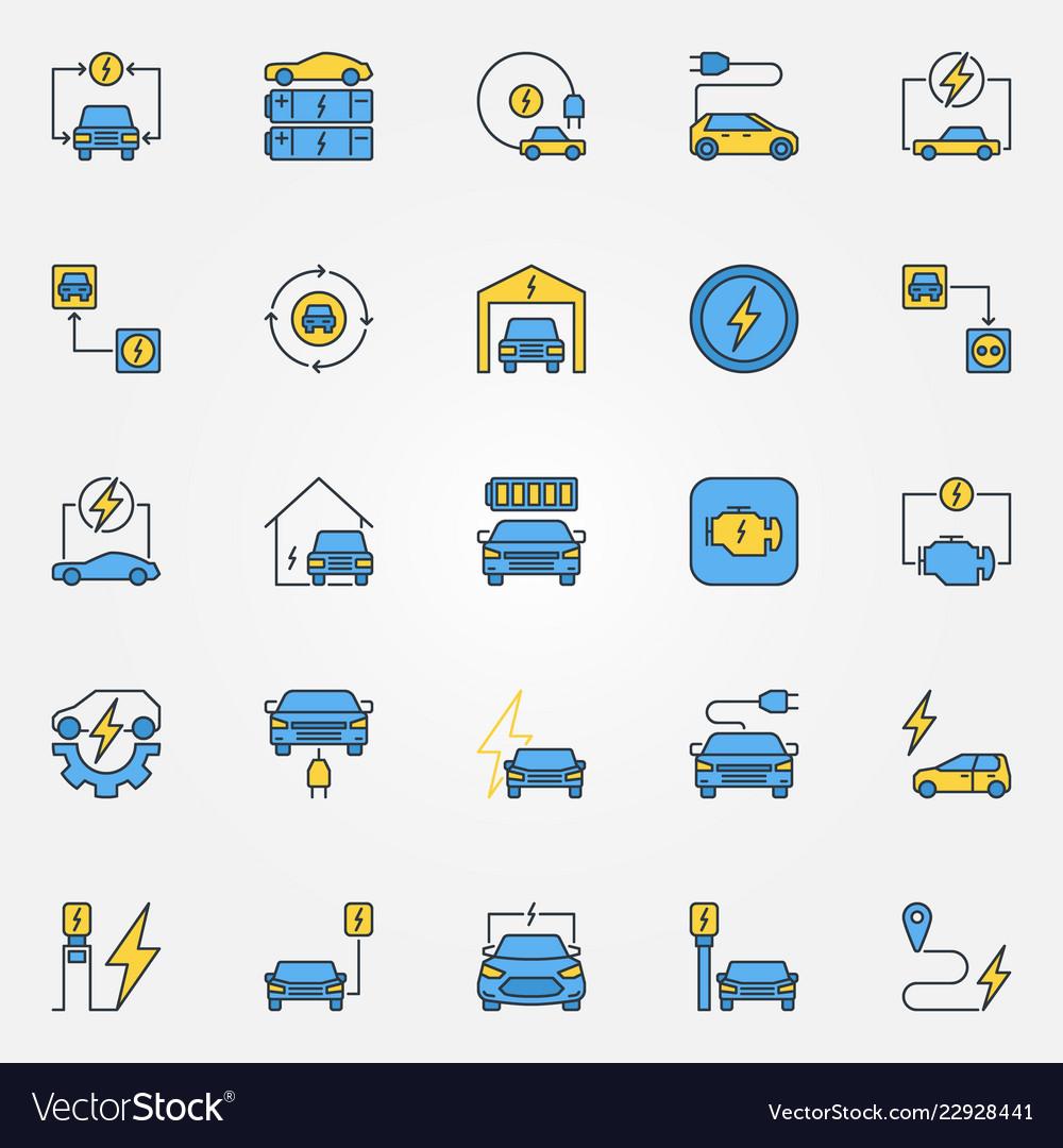 Electric car creative icons