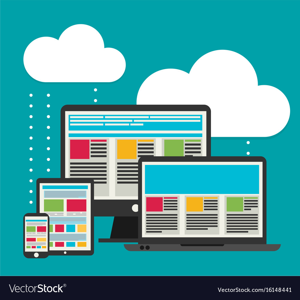 Flat design cloud computing with devices elements
