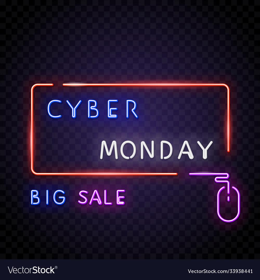 Neon frame cyber monday