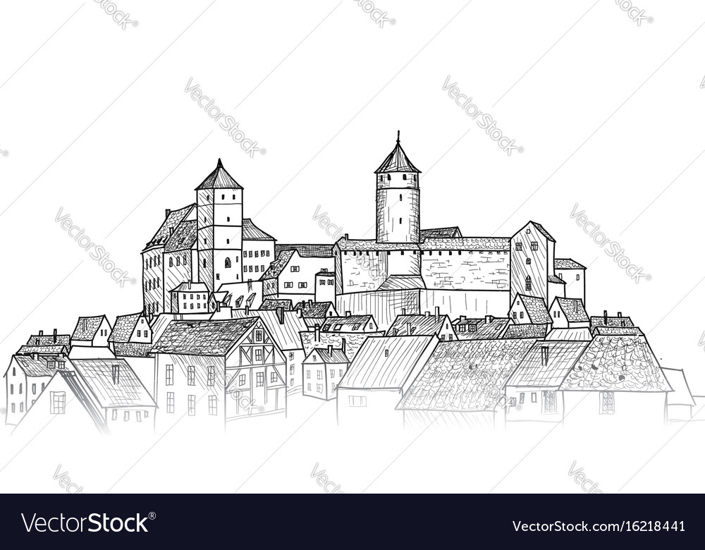 Old city downtown view medieval european castle