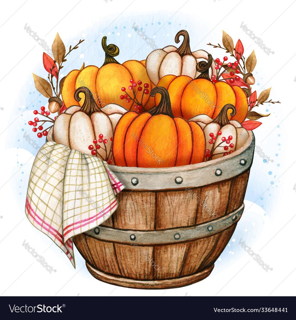 Rustic wooden half barrel with pumpkins