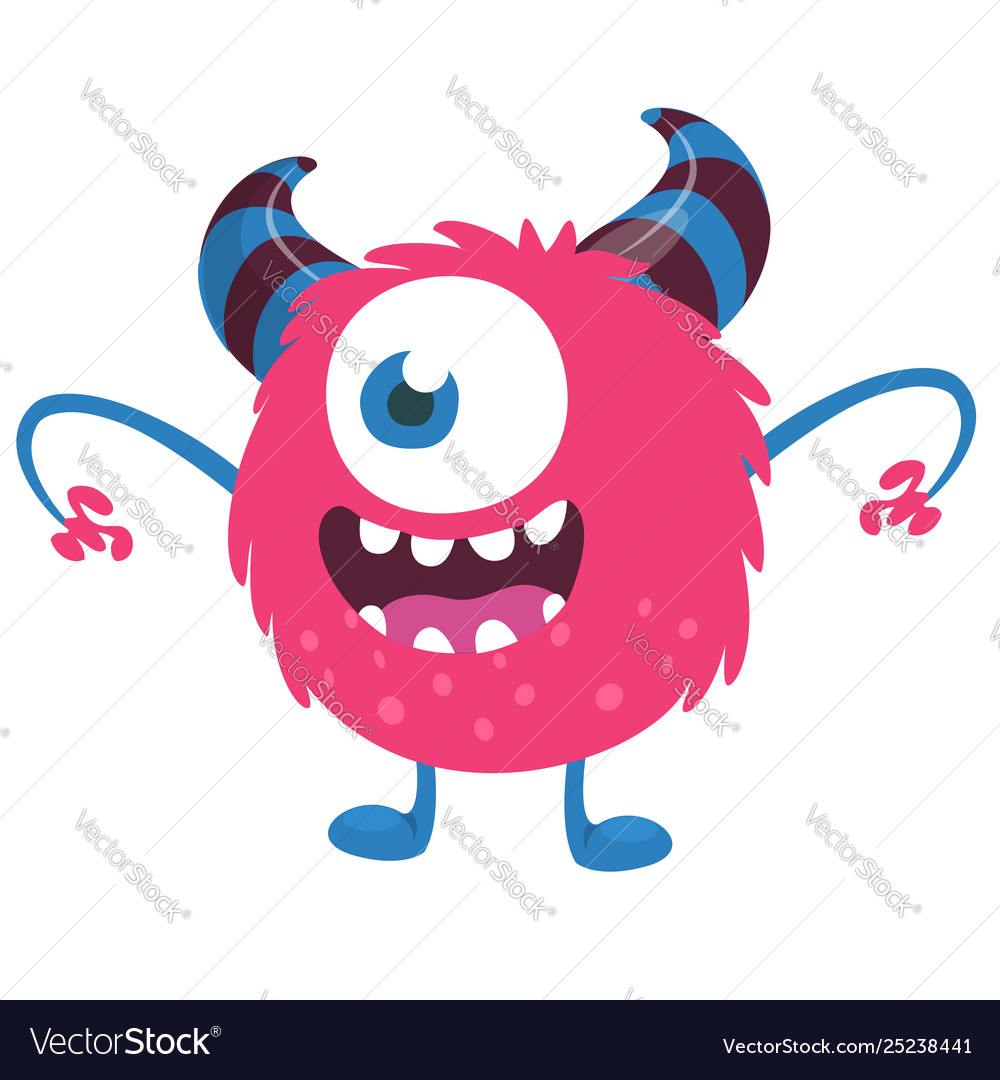 Scary Cartoon One Eyed Monster Royalty Free Vector Image