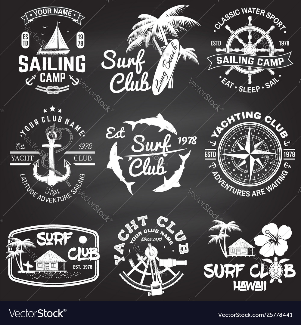 Set sailing camp yacht club and surf club