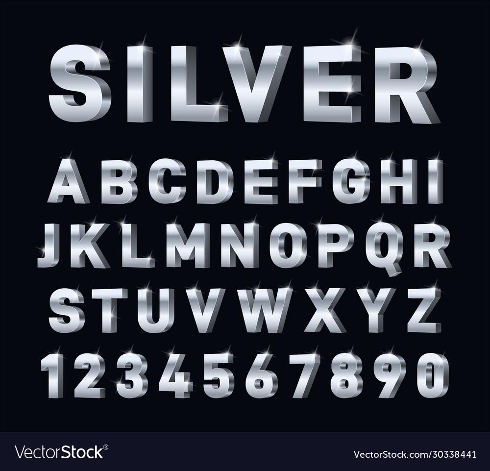 Silver font 3d steel chrome alphabet metal