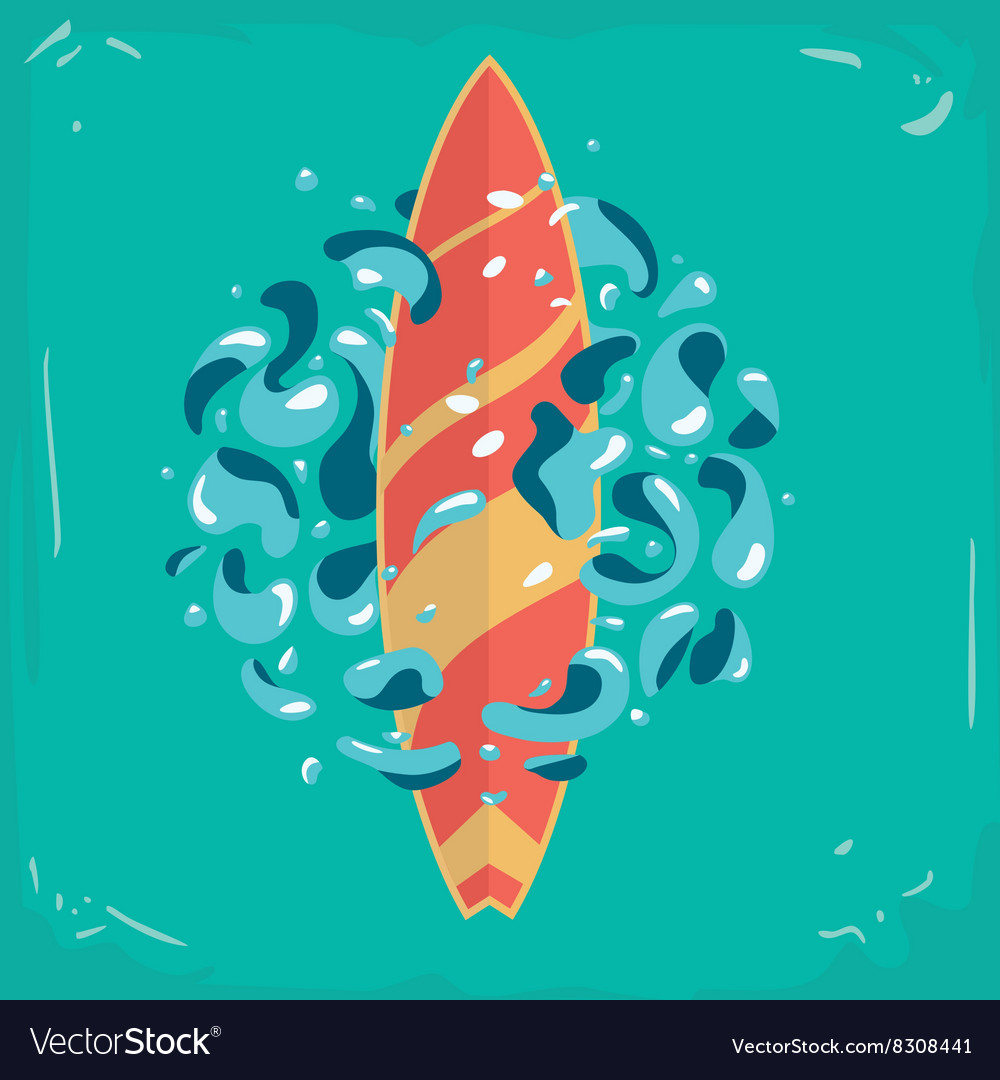 Vintage poster with a surfboard surfboard