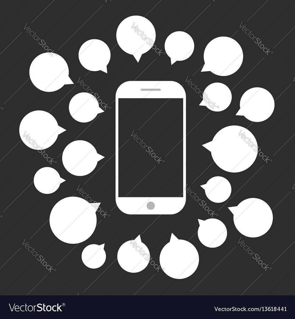 White smartphone with speech bubbles