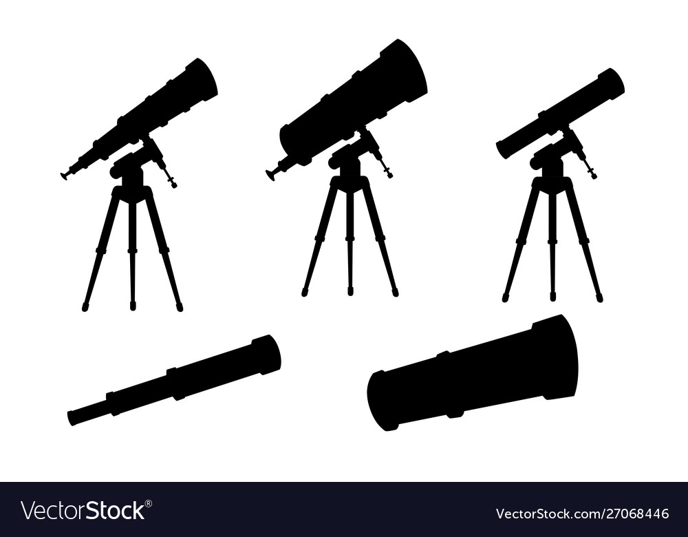 Black silhouette set telescopes with stands and