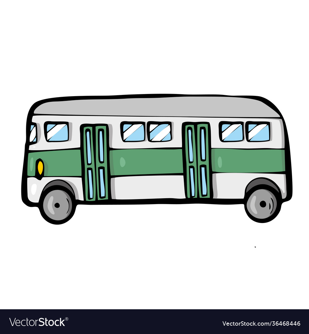Bus on white background cute cartoon transport
