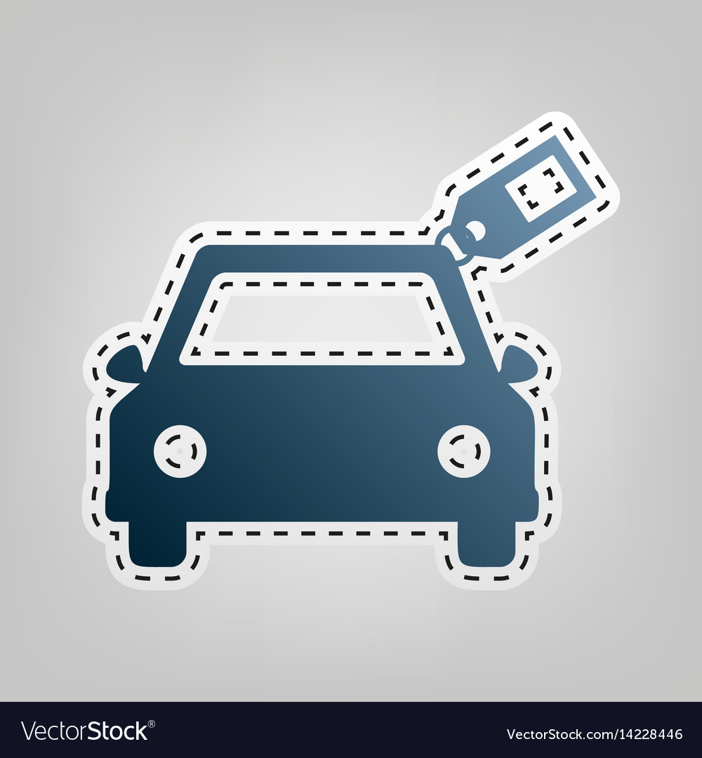 Car sign with tag blue icon with outline