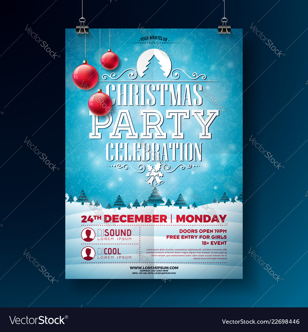 christmas party flyer with typography royalty free vector