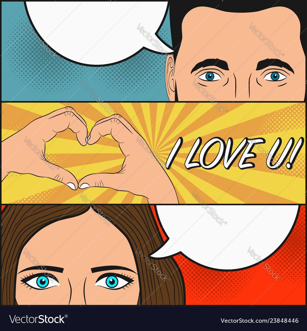 Comic love story woman and man