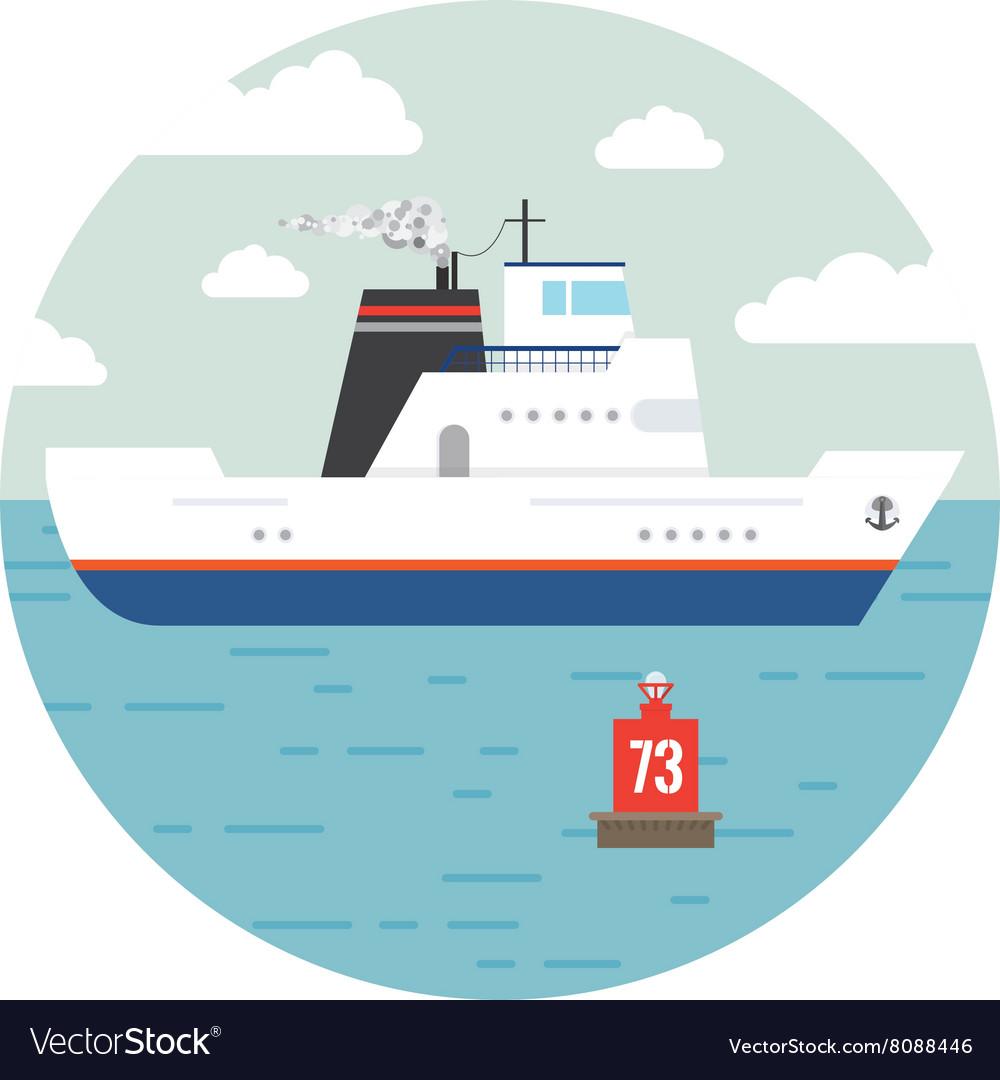 Flat ocean and sea transport boat