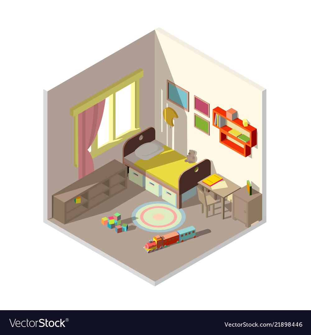 Interior of children bedroom with window