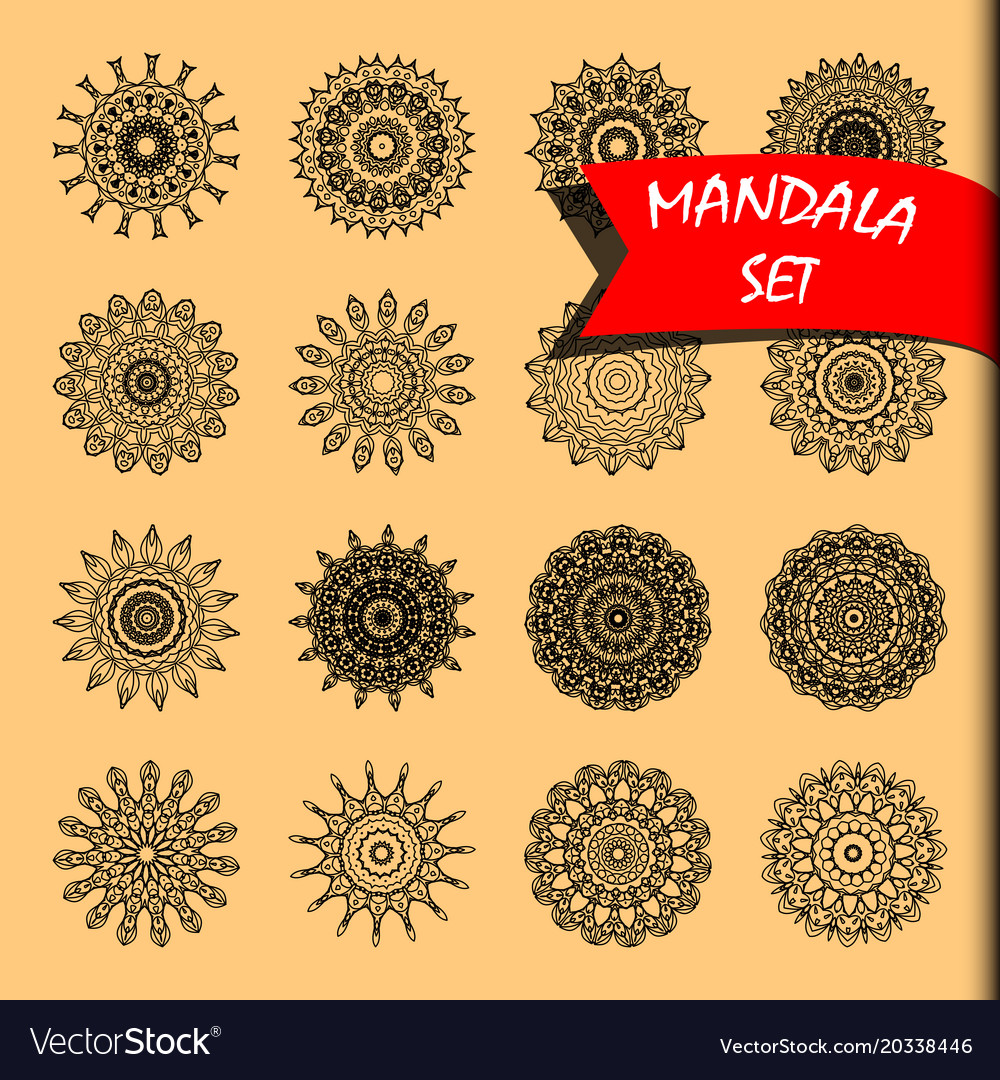 Line mandala set rotary objects decorative