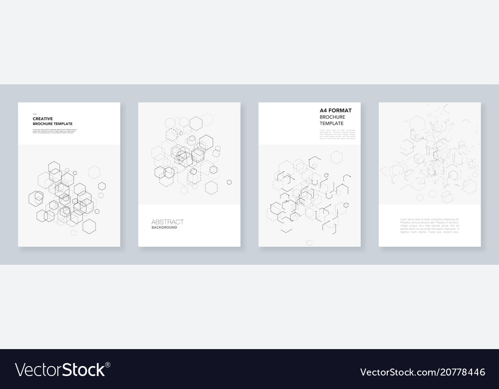 Minimal brochure templates with hexagons