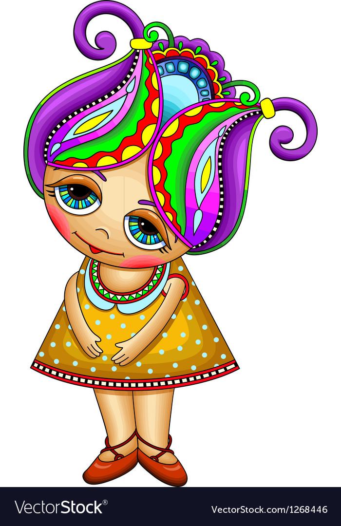 Ornate fantasy cartoon little girl vector image