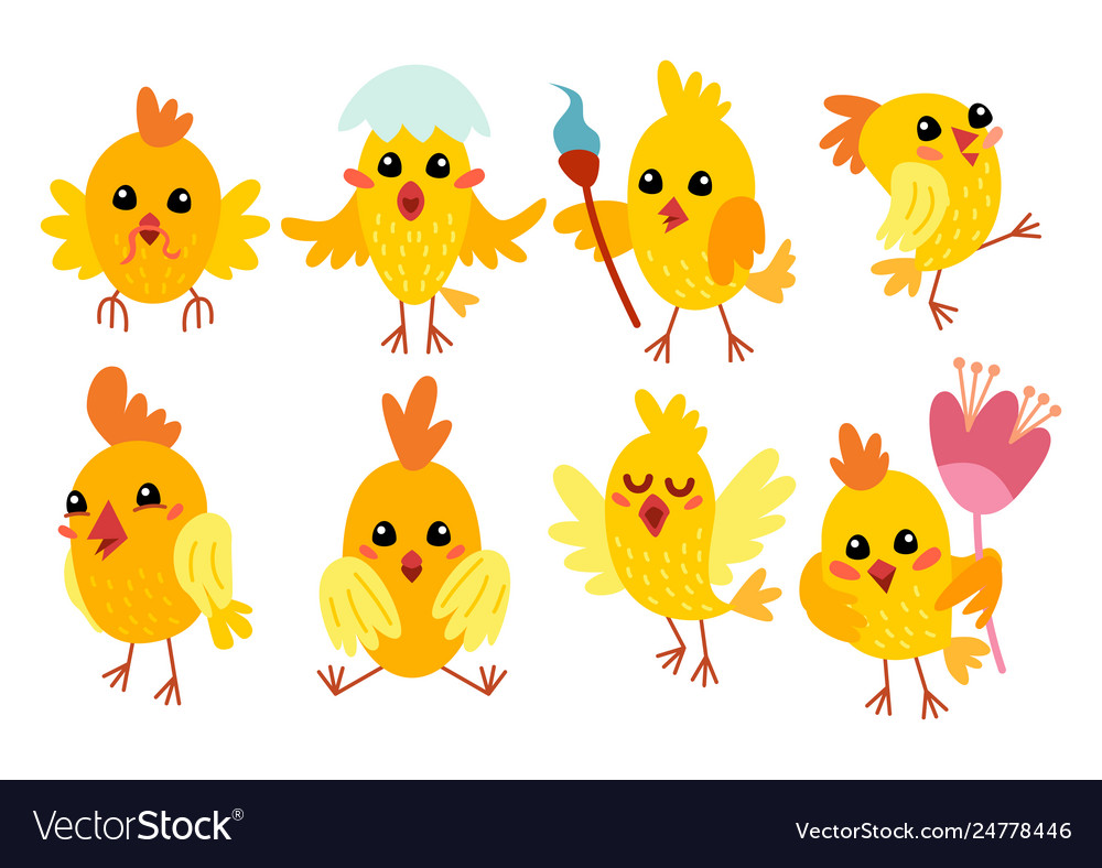 Set cute cartoon chicken characters for easter