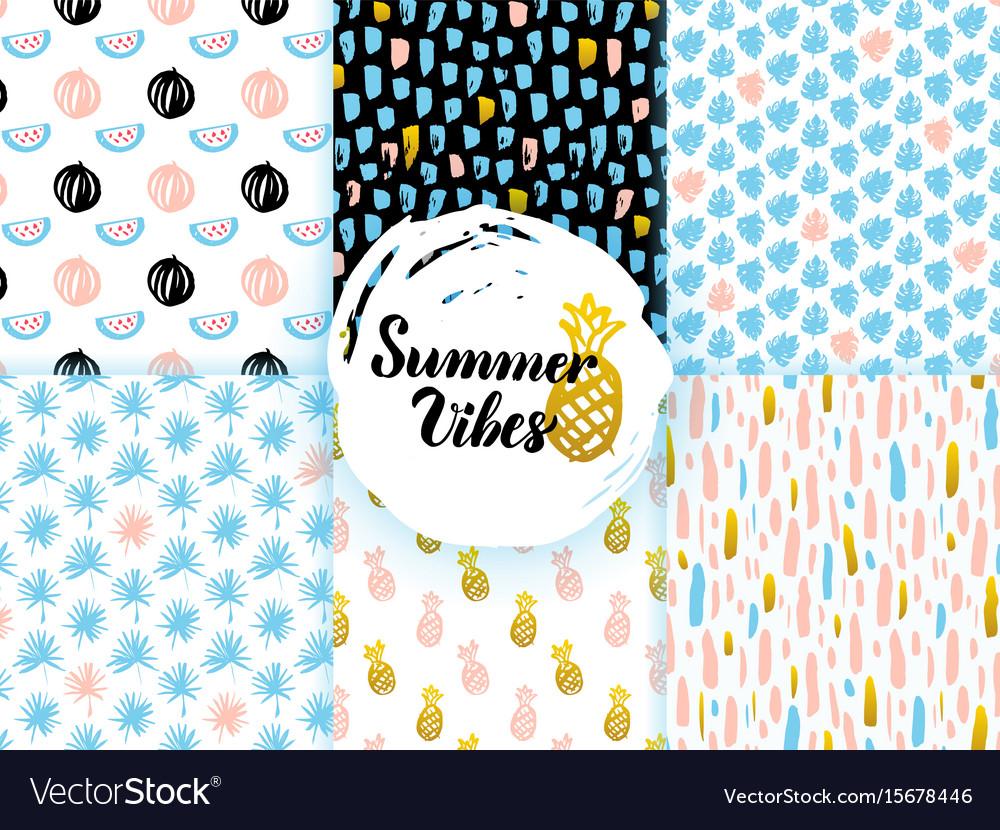 Summer funky seamless patterns