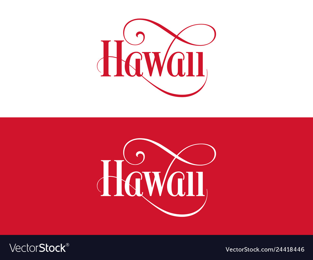 Typography of the usa hawaii states handwritten