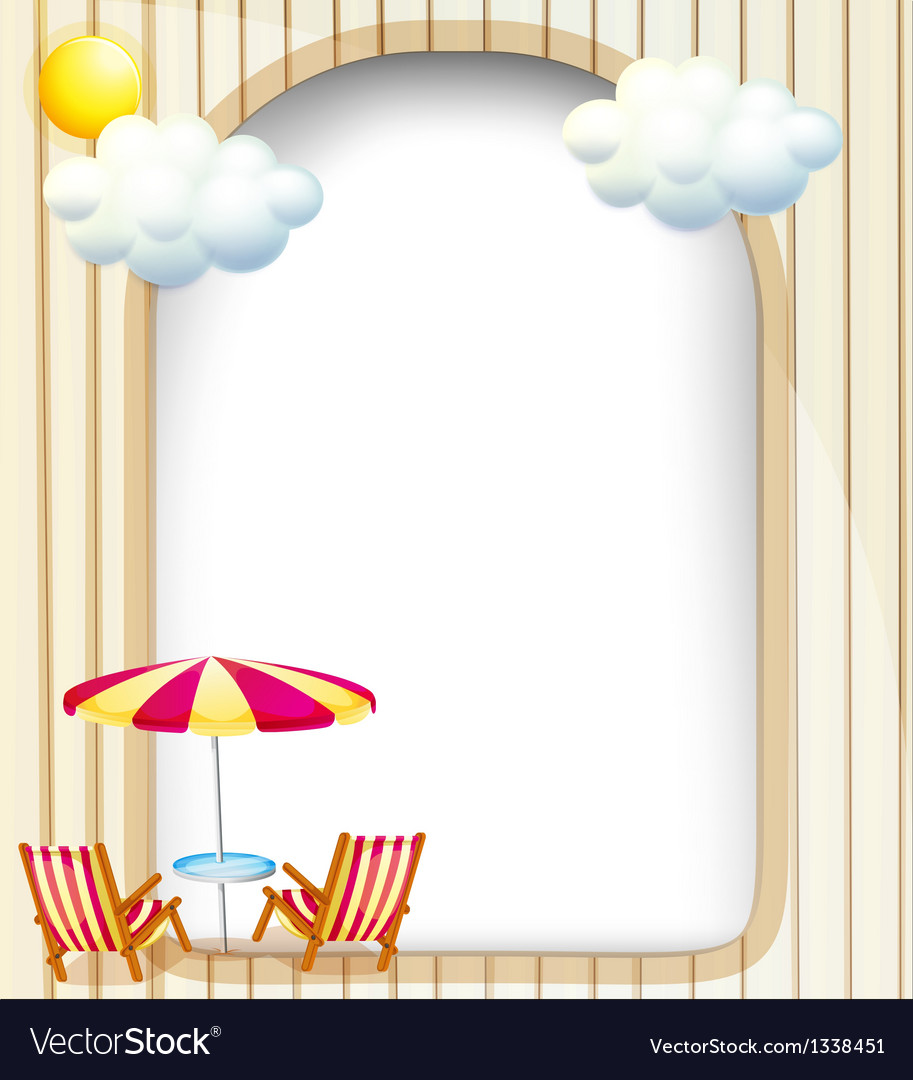An empty surface with beach chairs and umbrella vector image