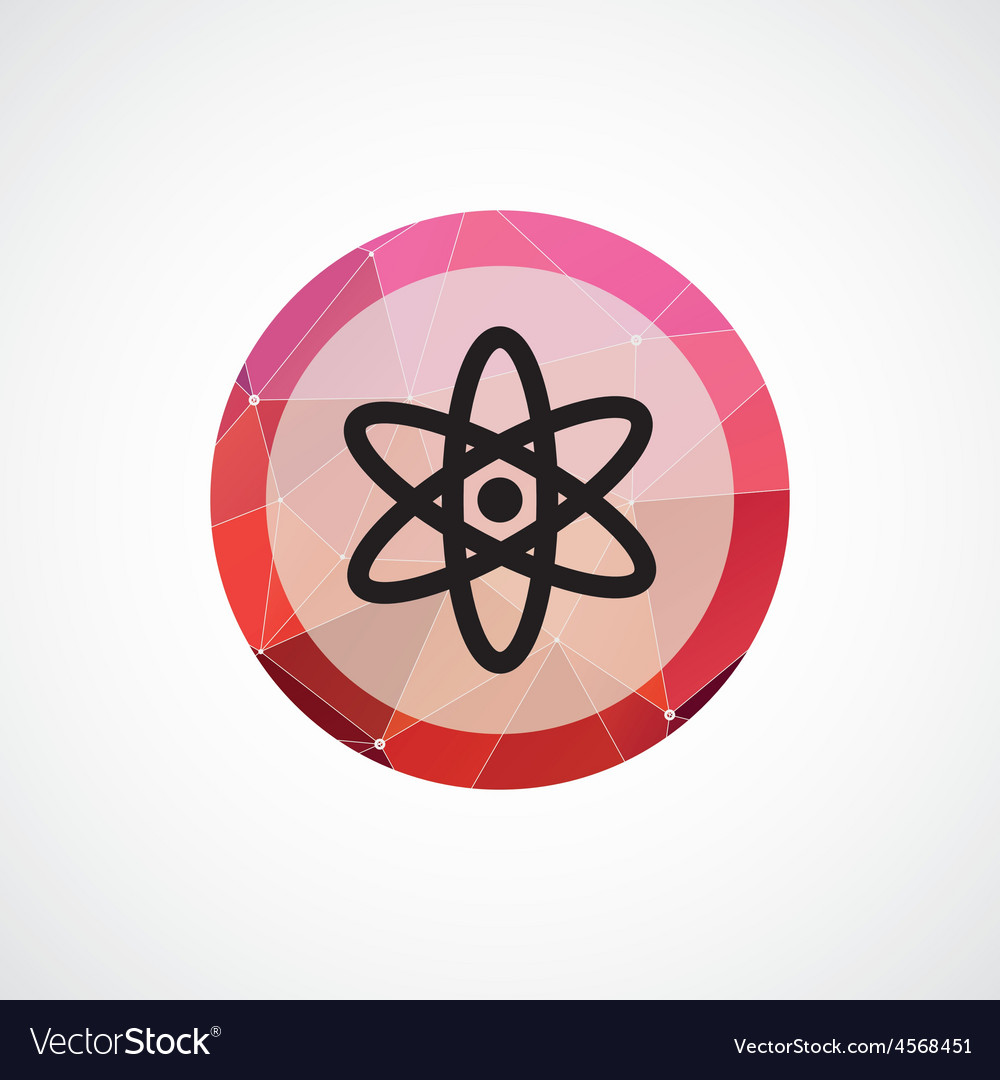 Atom circle pink triangle background icon