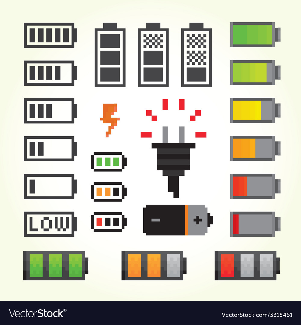 Battery pack icons in pixel art style