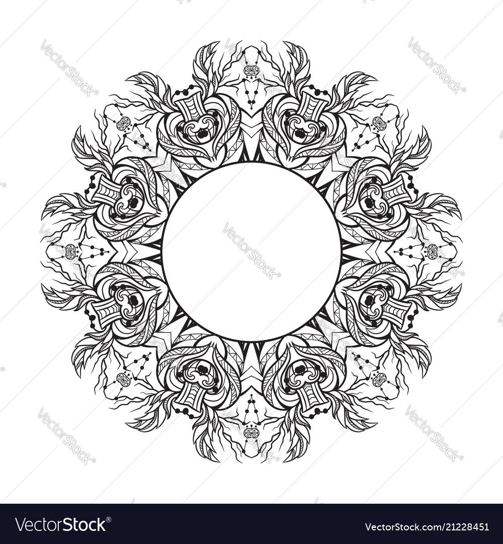 Black and white round mandala frame with a boho