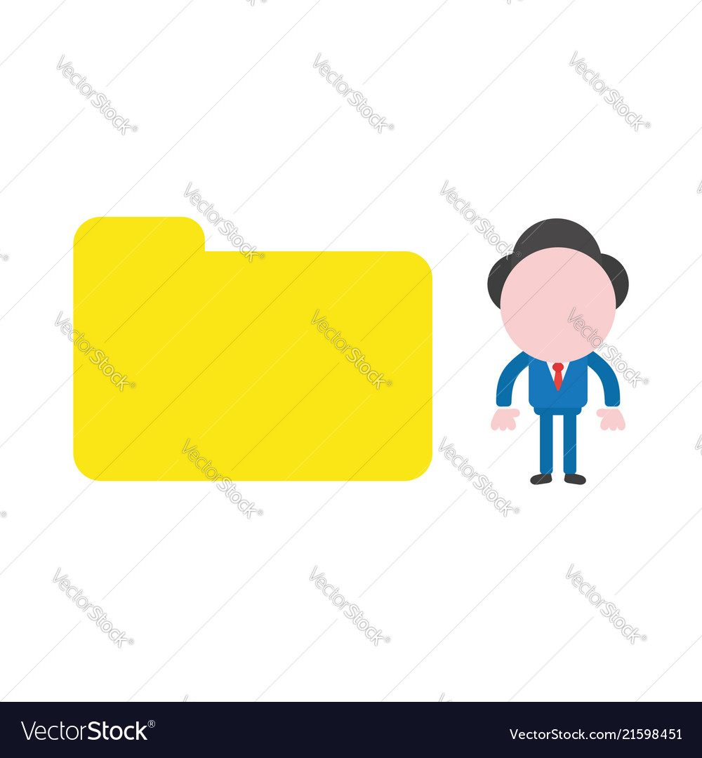Businessman character with closed file folder vector image on VectorStock