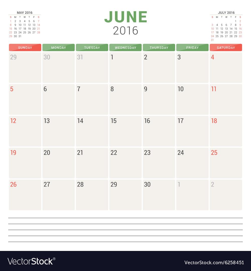 Calendar Planner 2016 Flat Design Template June