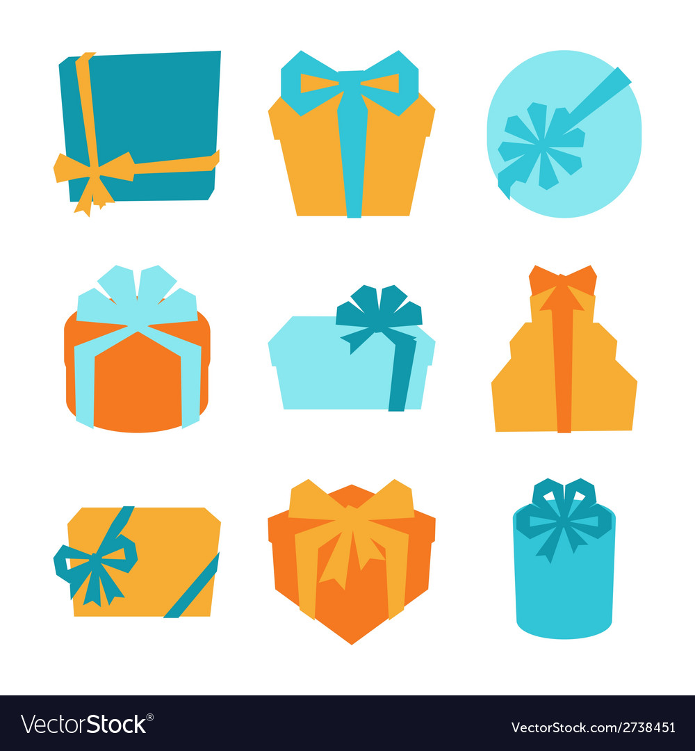 Celebration icon set of colorful gift boxes