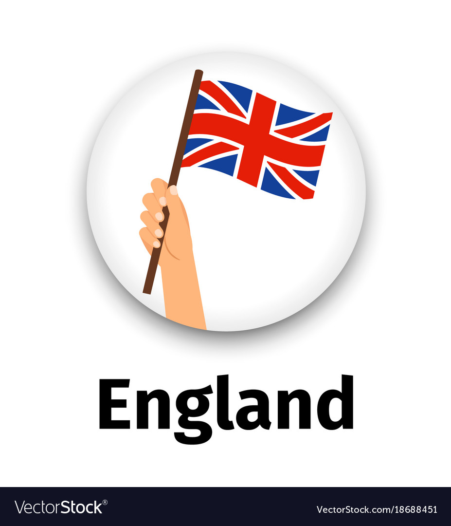 England flag in hand round icon