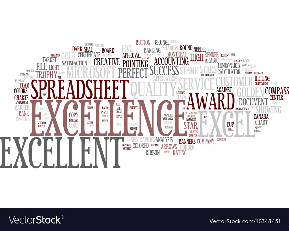 Excellent word cloud concept vector image