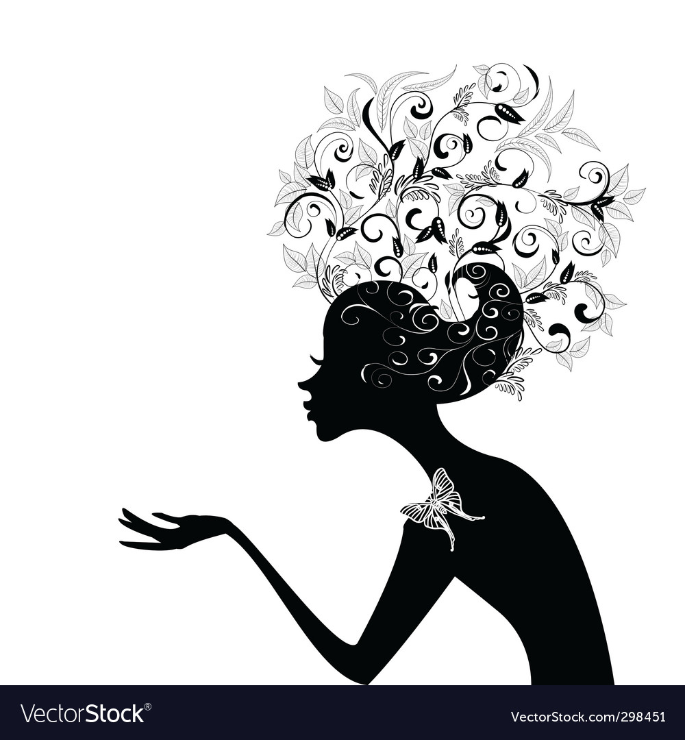 Girl with decorated hair vector image