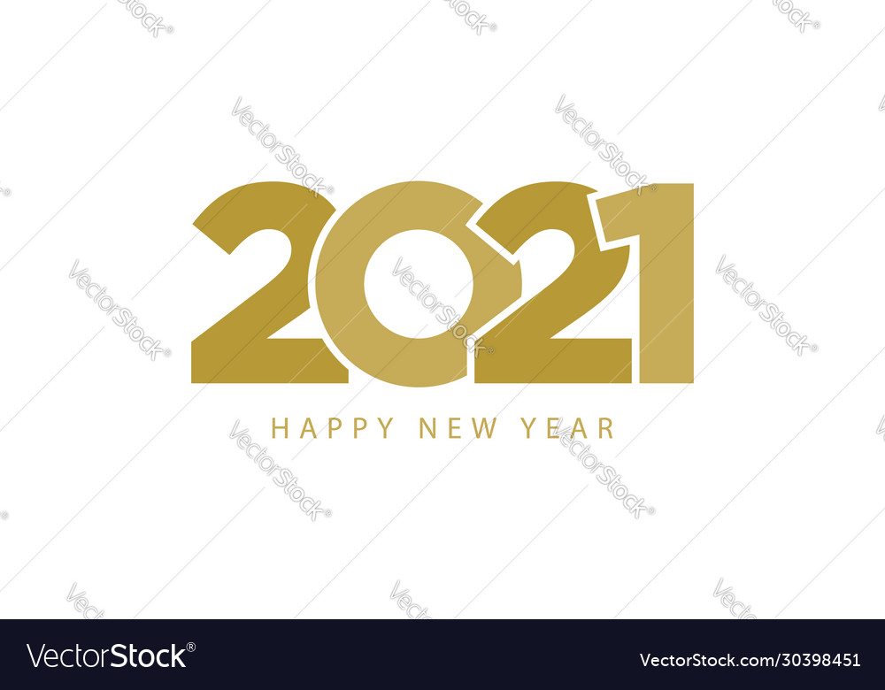 Golden text 2021 happy new year isolated on white