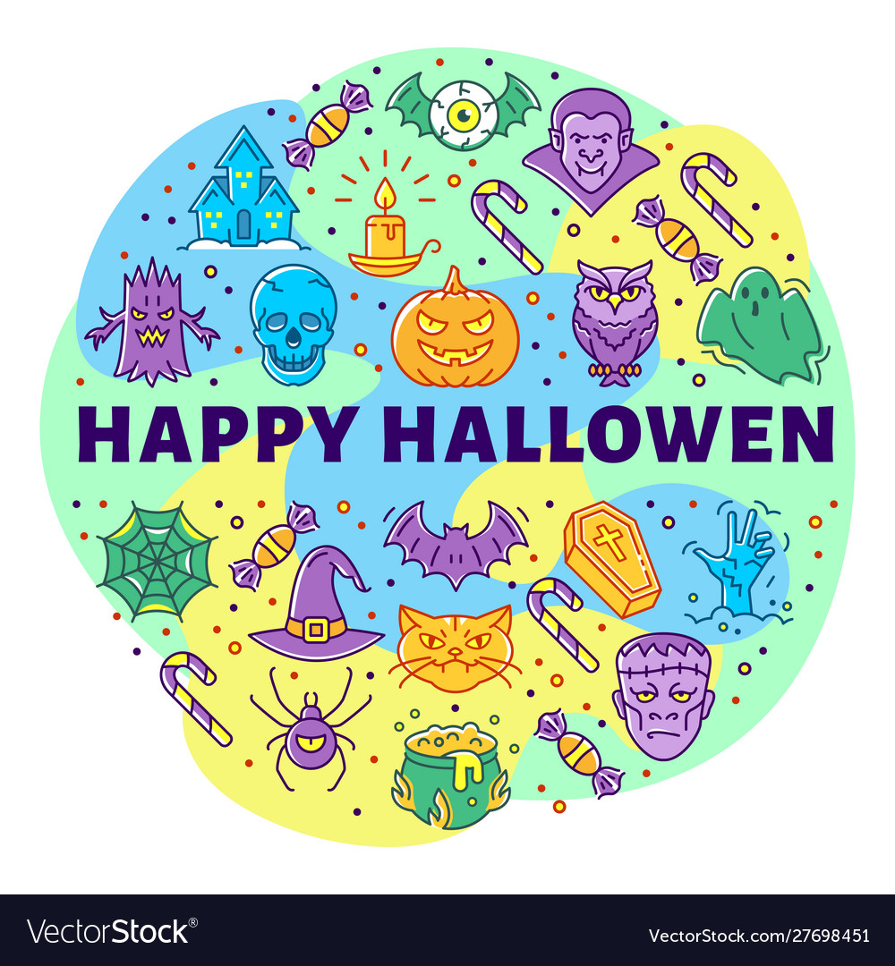 Happy halloween linear icons circle infographics