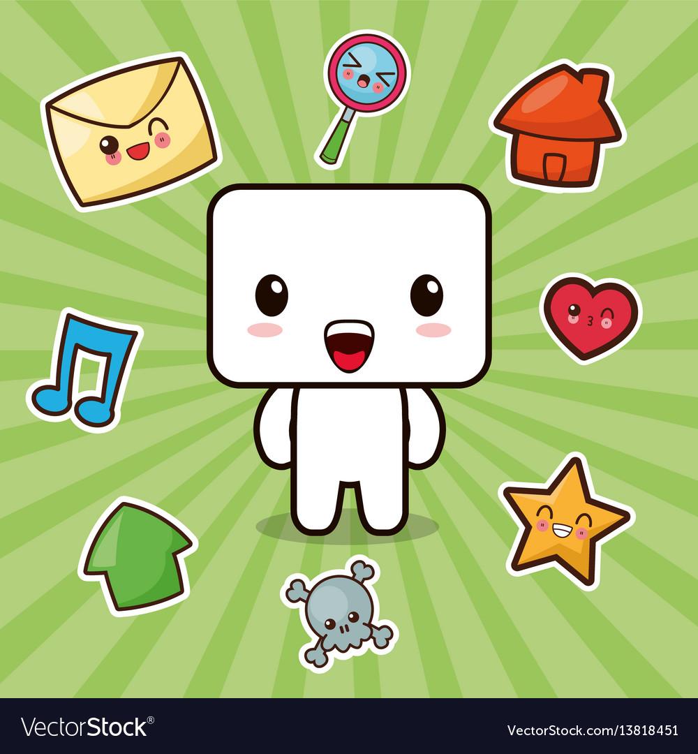 Kawaii character social media icons vector image