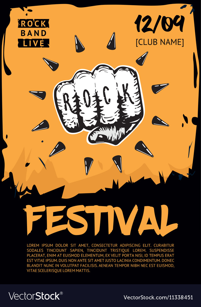 Music poster template for rock concert Hand with