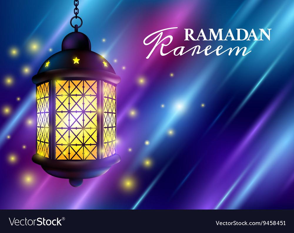 Ramadan Kareem Greetings with Colorful Set of