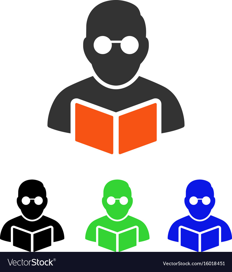Student reading book flat icon