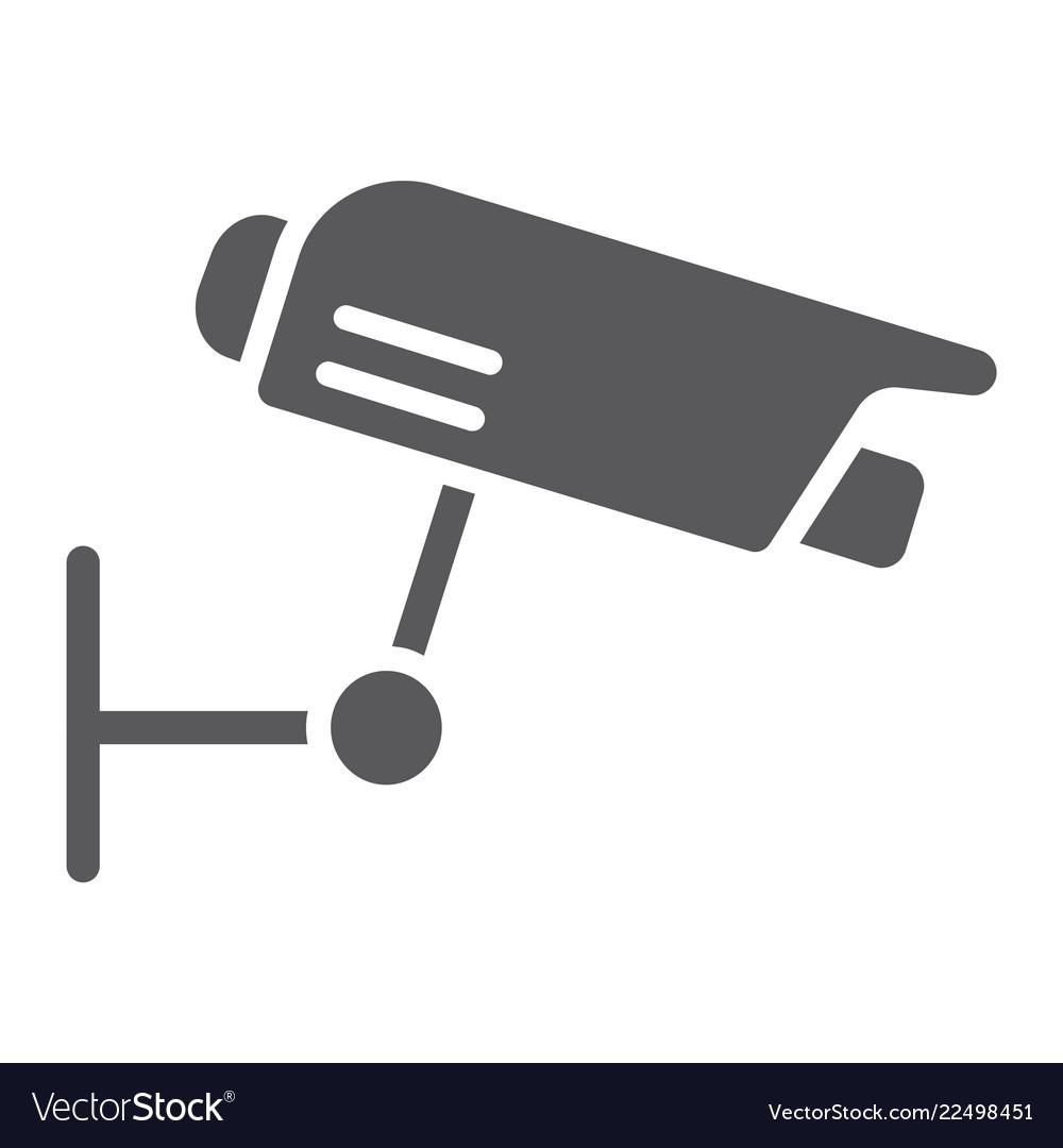 Surveillance camera glyph icon guard and digital