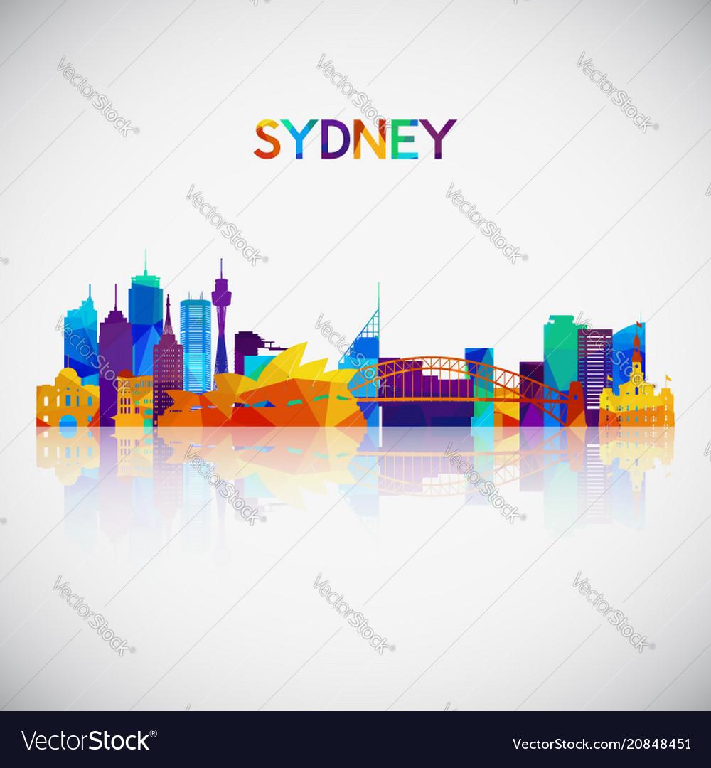 Sydney skyline silhouette in colorful geometric