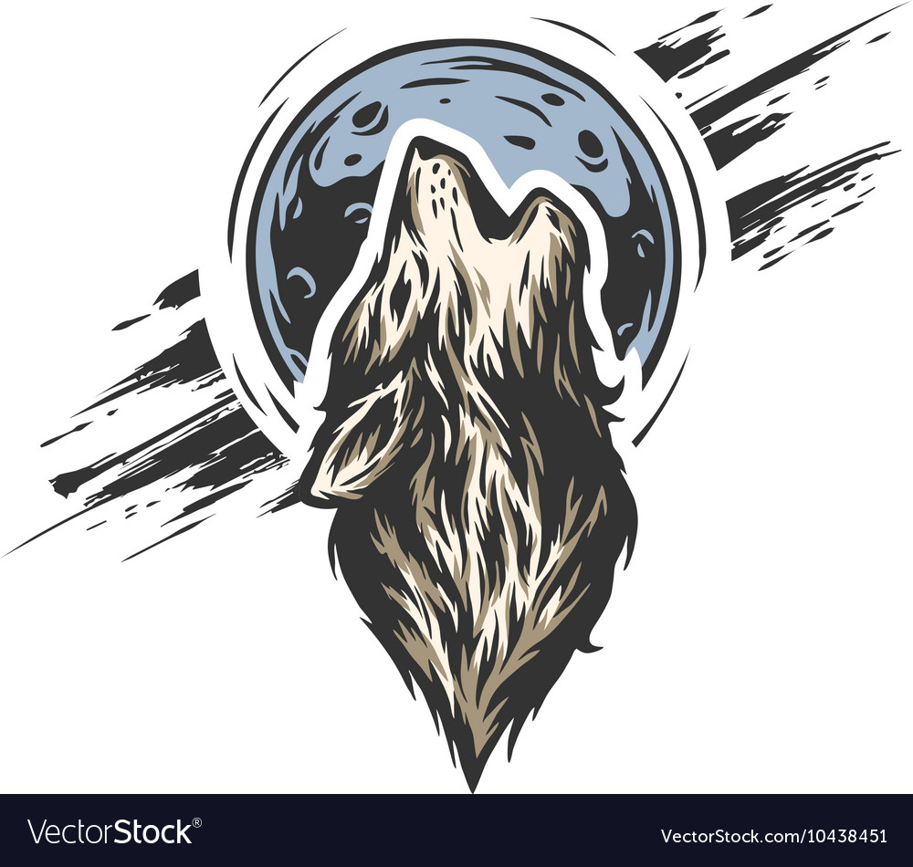 The head a wolf on moon