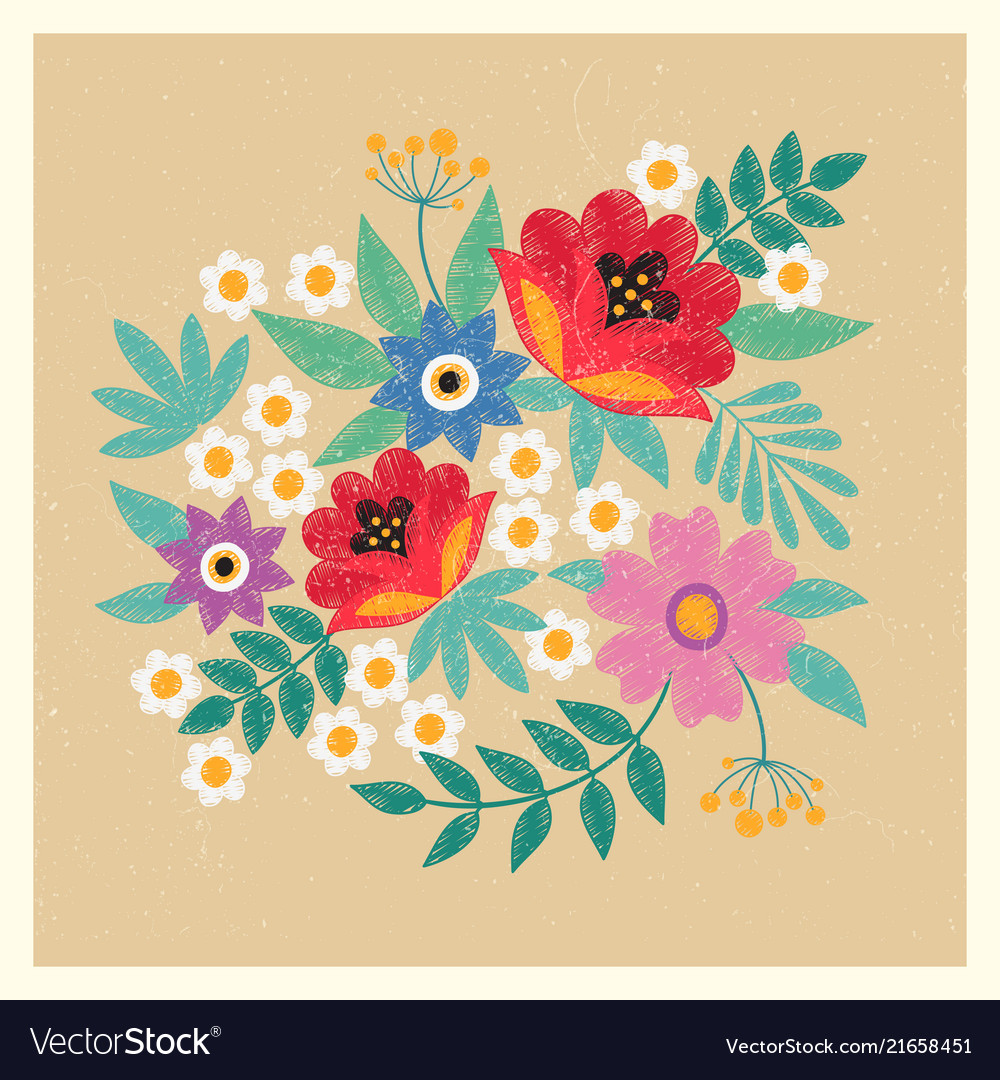 Vintage postcard template with flowers and leaves
