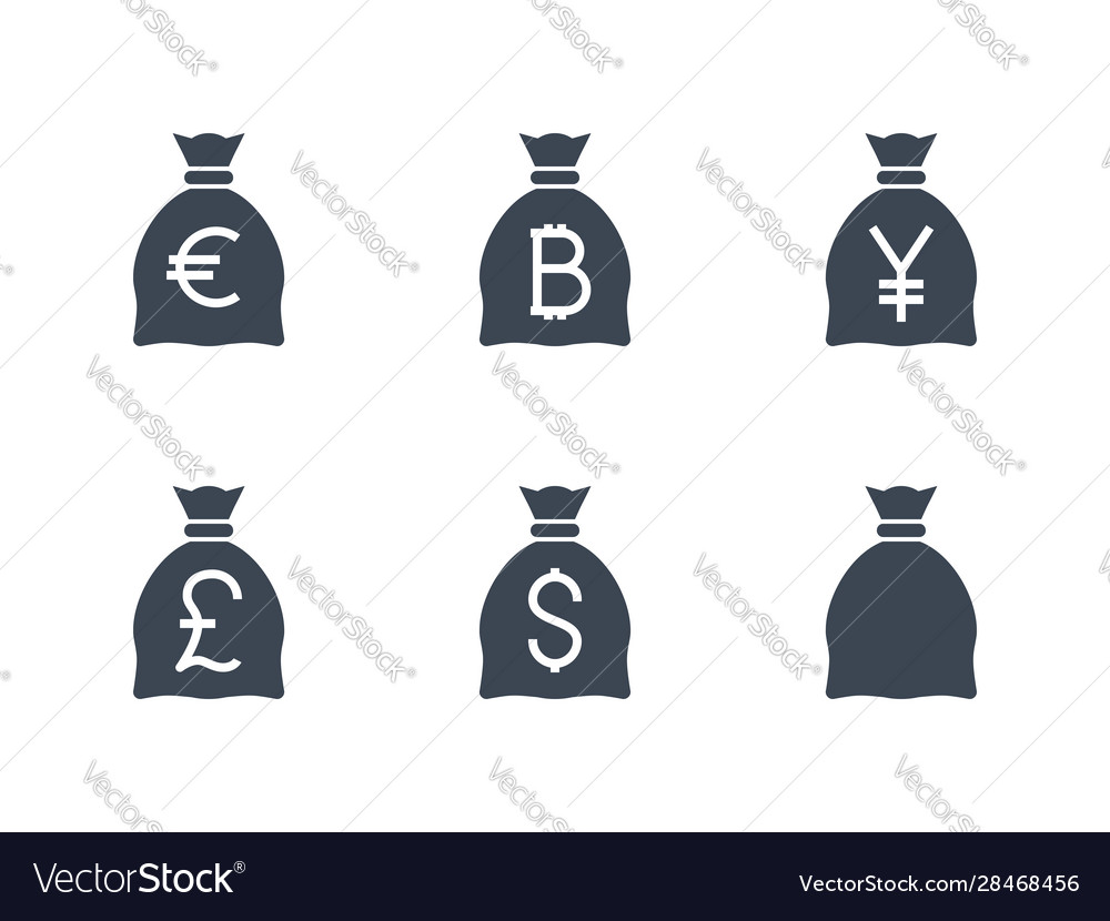Bags with money related glyph icon