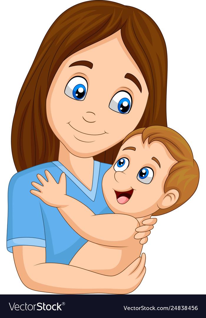 Cartoon Happy Mother Hugging Her Baby Royalty Free Vector